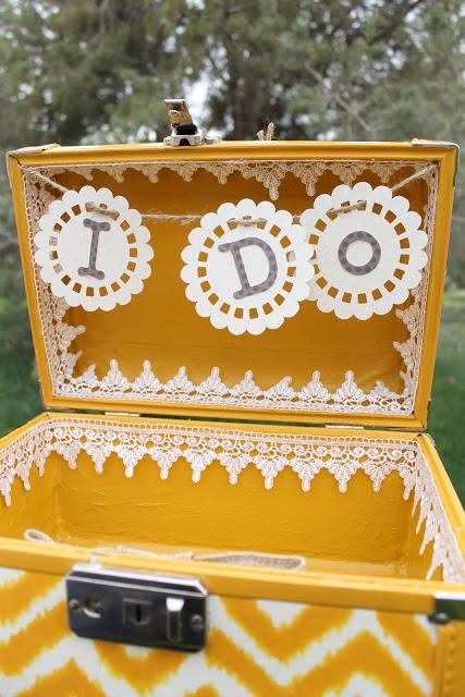 diy vintage wedding suitcase tutorial ikat chevron painting