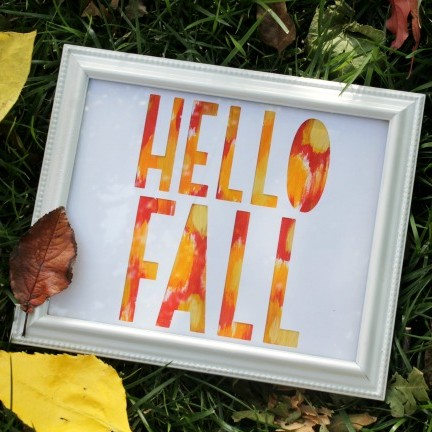 Ikat Hello Fall Framed Sign