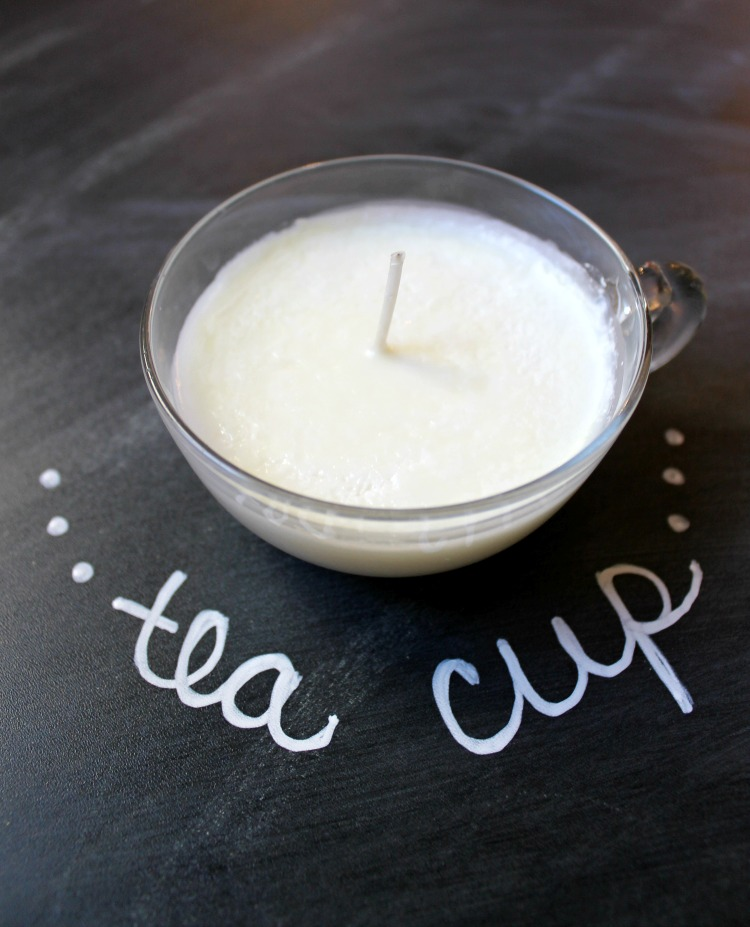 Tea Cup Soy Candle Gift Idea plus FREE Printable gift tag:  Child at Heart