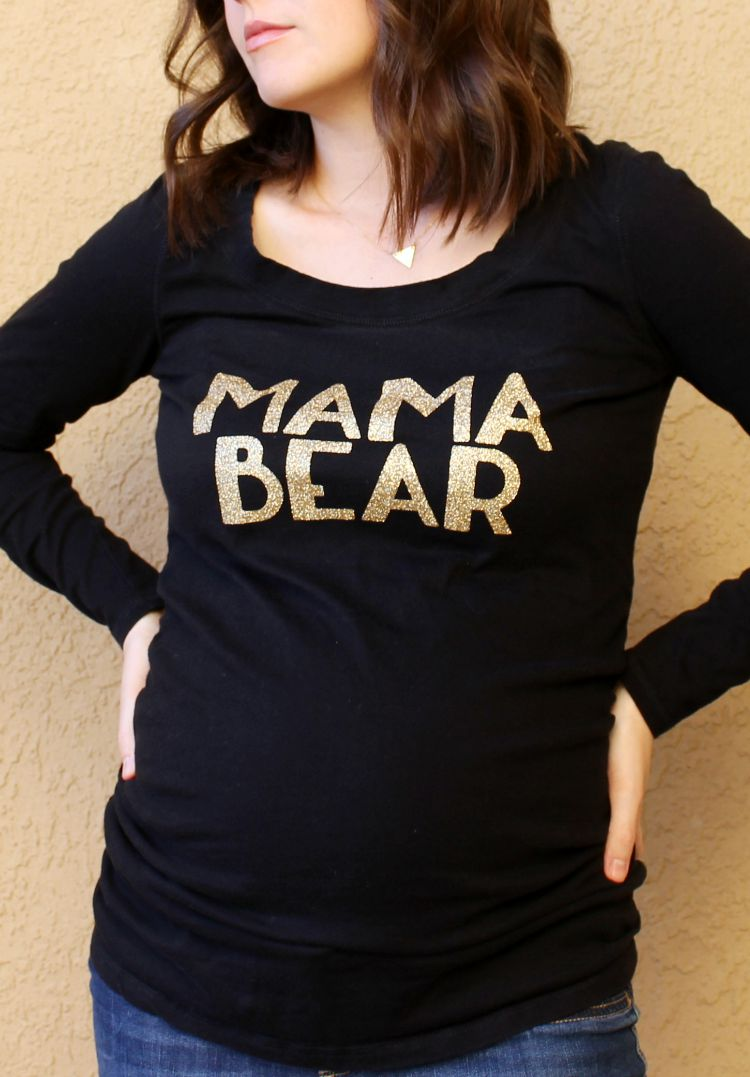 Mama Bear Glitter Iron On Transfer Glitter Shirt with Cricut Explore: Child at Heart Blog