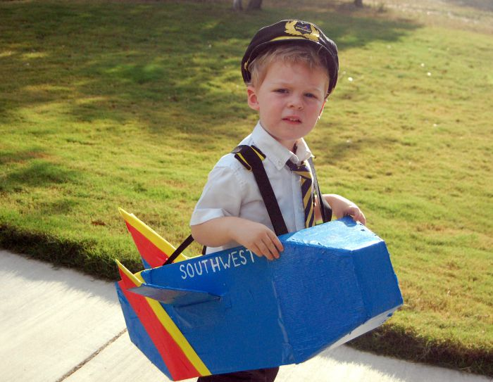 Pilot and Airplane Box Halloween Costume Idea: Child at Heart Blog
