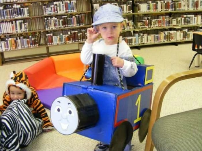 DIY Thomas the Engine Box Halloween Costume Idea: Child at Heart Blog