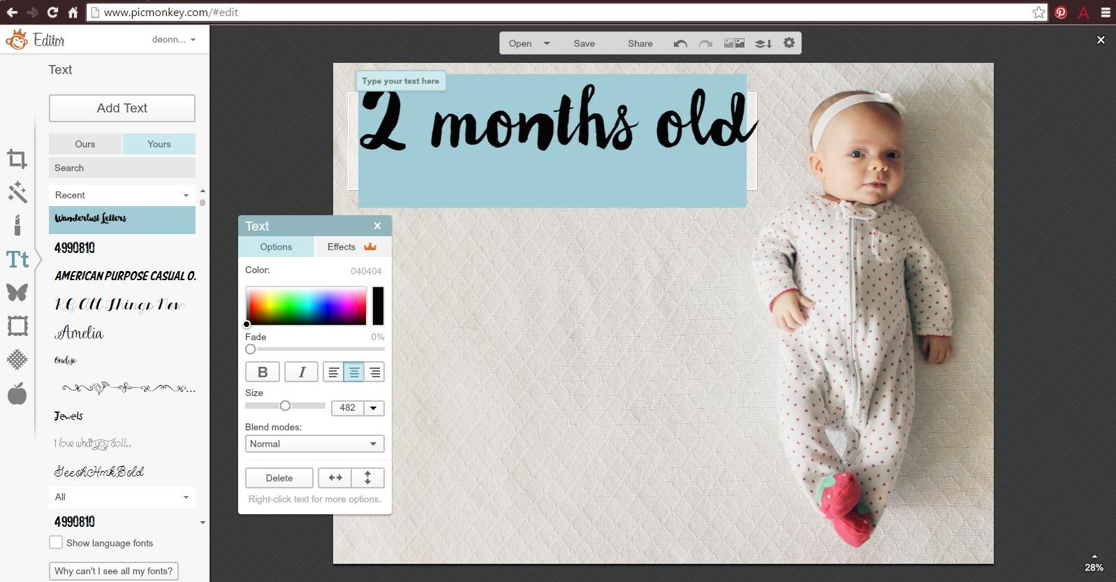 Monthly Baby Stats Picture Tutorial Deonna Wade
