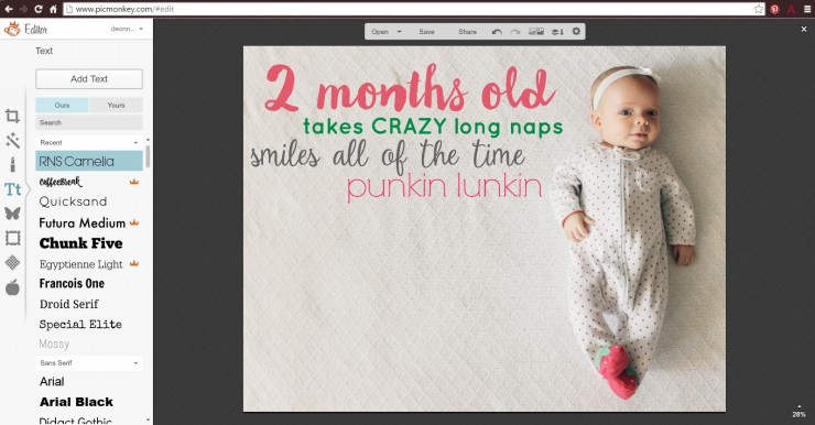 Monthly Baby Stats Picture Tutorial: Child at Heart Blog