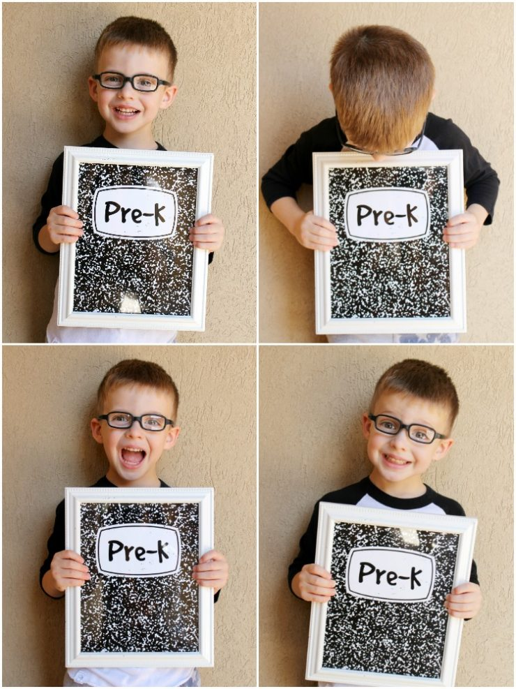 Free First Day of School Printable Signs that look just like Composition Notebooks: Grades Pre-K through Senior Year from the Child at Heart Blog