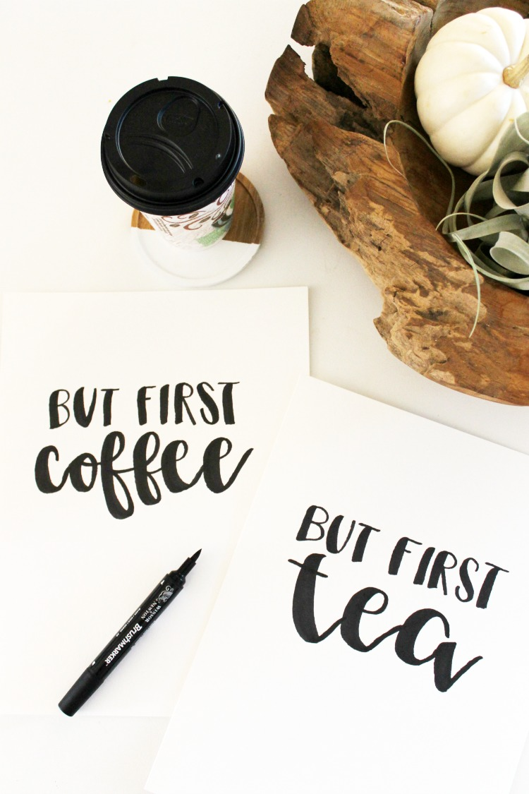 But First Coffee or Tea FREE Hand Lettered Printable + How to Crush It as a Mom: the Child at Heart blog