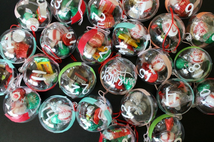 Candy Christmas Ornament DIY Advent Calendar Craft Idea for Kids: Child at Heart Blog
