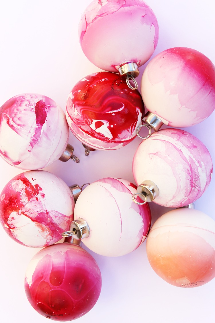 DIY Boho Marbled Christmas Ornament Crafts for All Ages: Child at Heart Blog