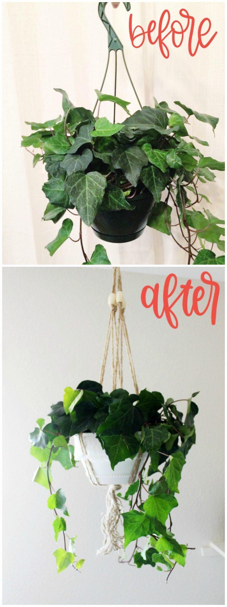 Plastic Hanging Planter DIY Boho Makeover: the Child at Heart blog