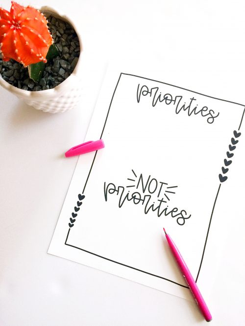 Free Priorities Printable