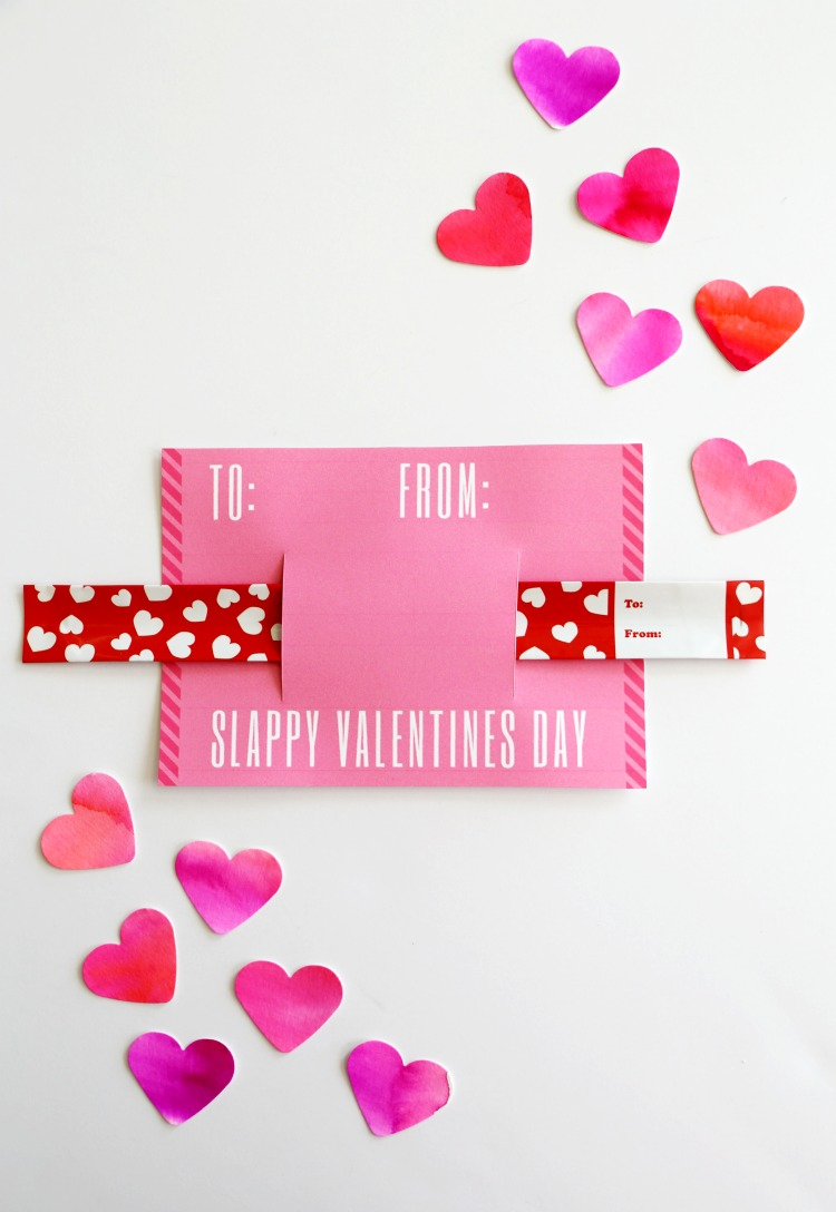 Slap Bracelet Valentine Card Printables: Non Candy Valentine Idea from the Child at Heart Blog