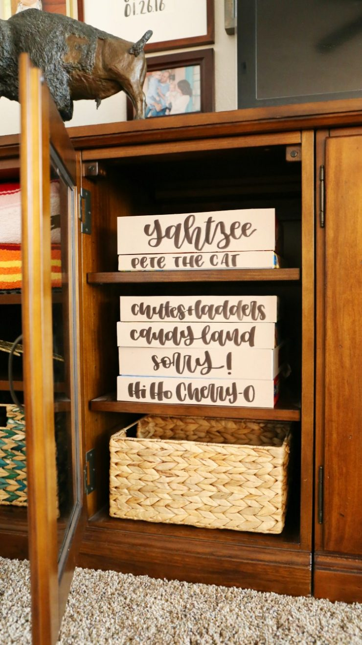Hand Lettering on Board Games in an Entertainment Center