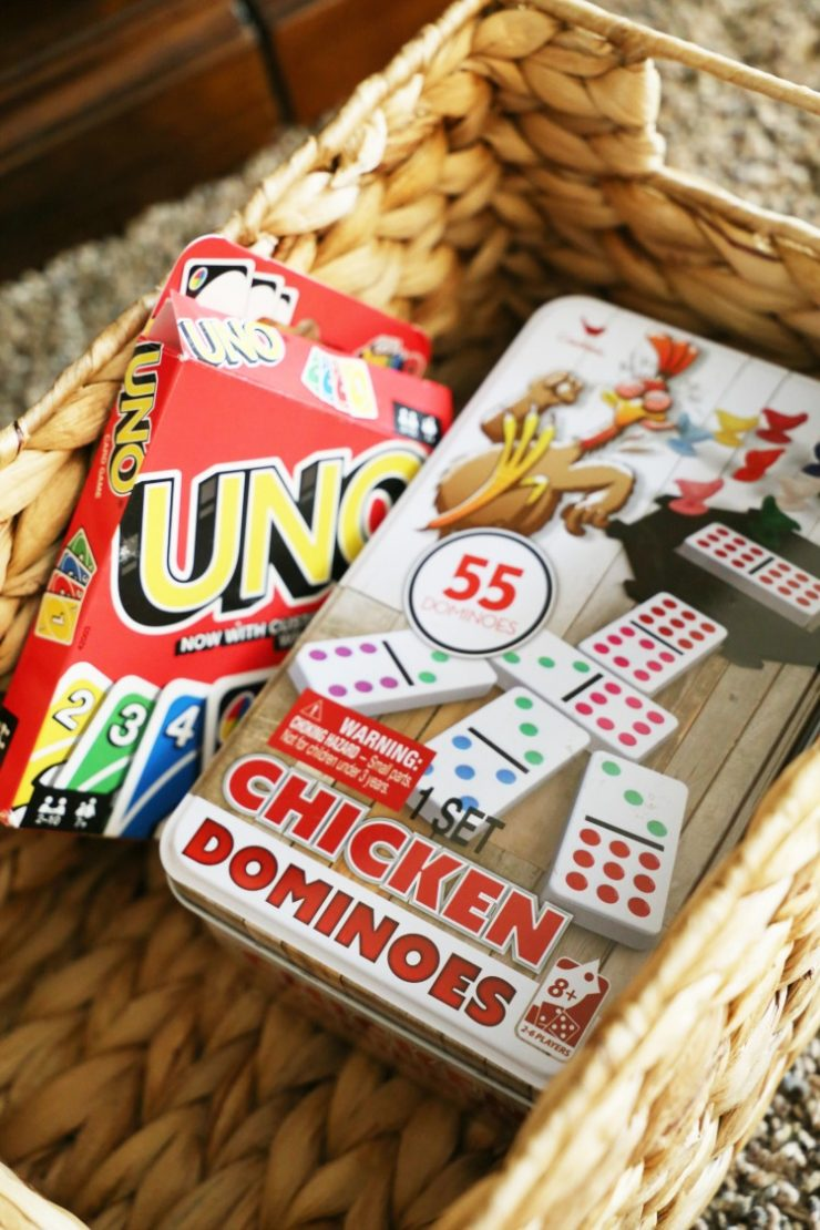 Chicken Foot Game and Uno Card game in a basket