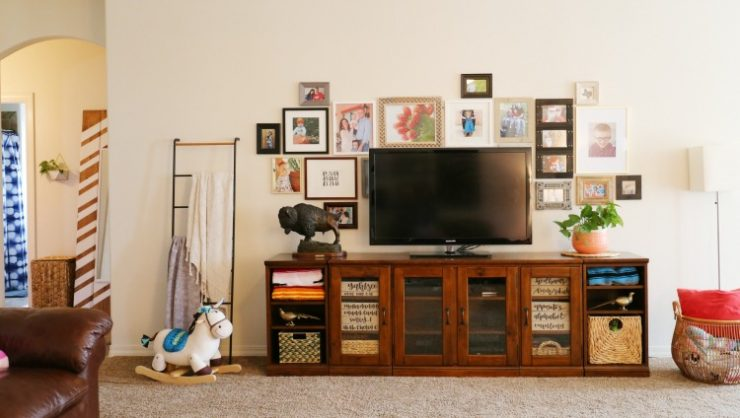 Entertainment center with Gallery wall