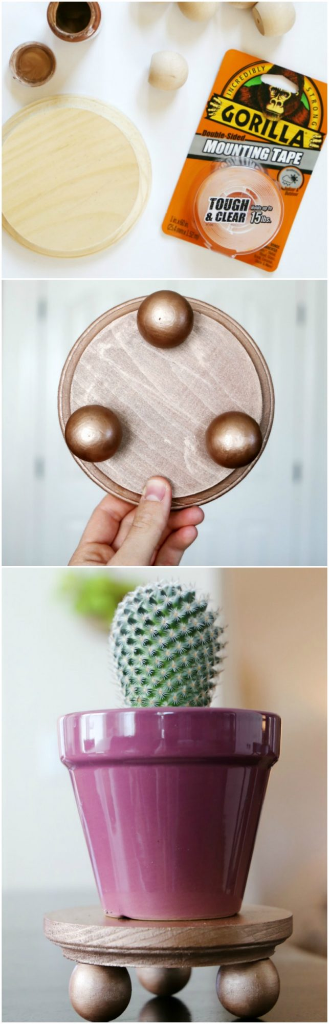 DIY Tiny Plant Stand Tutorial for Table Top Plants with Gorilla Glue: the Child at Heart blog