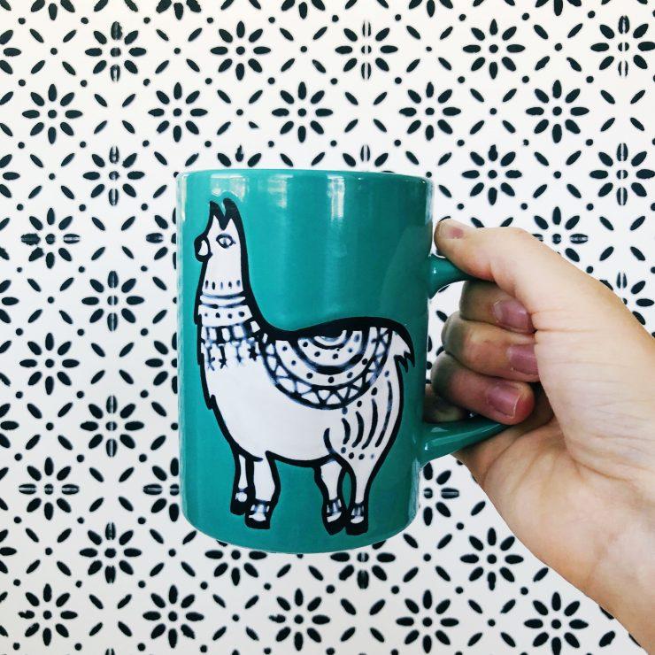 Llama mug with black and white background