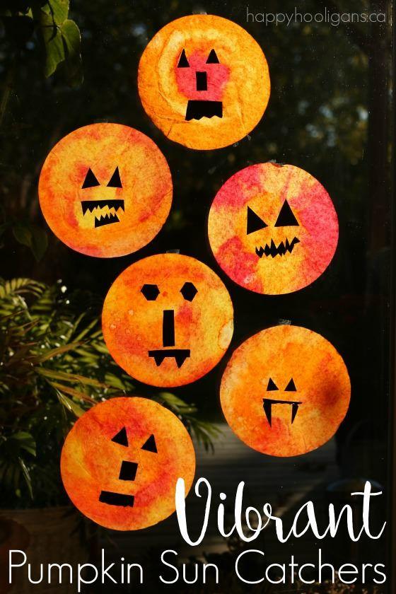 pumpkin coffee filter suncatcher craft
