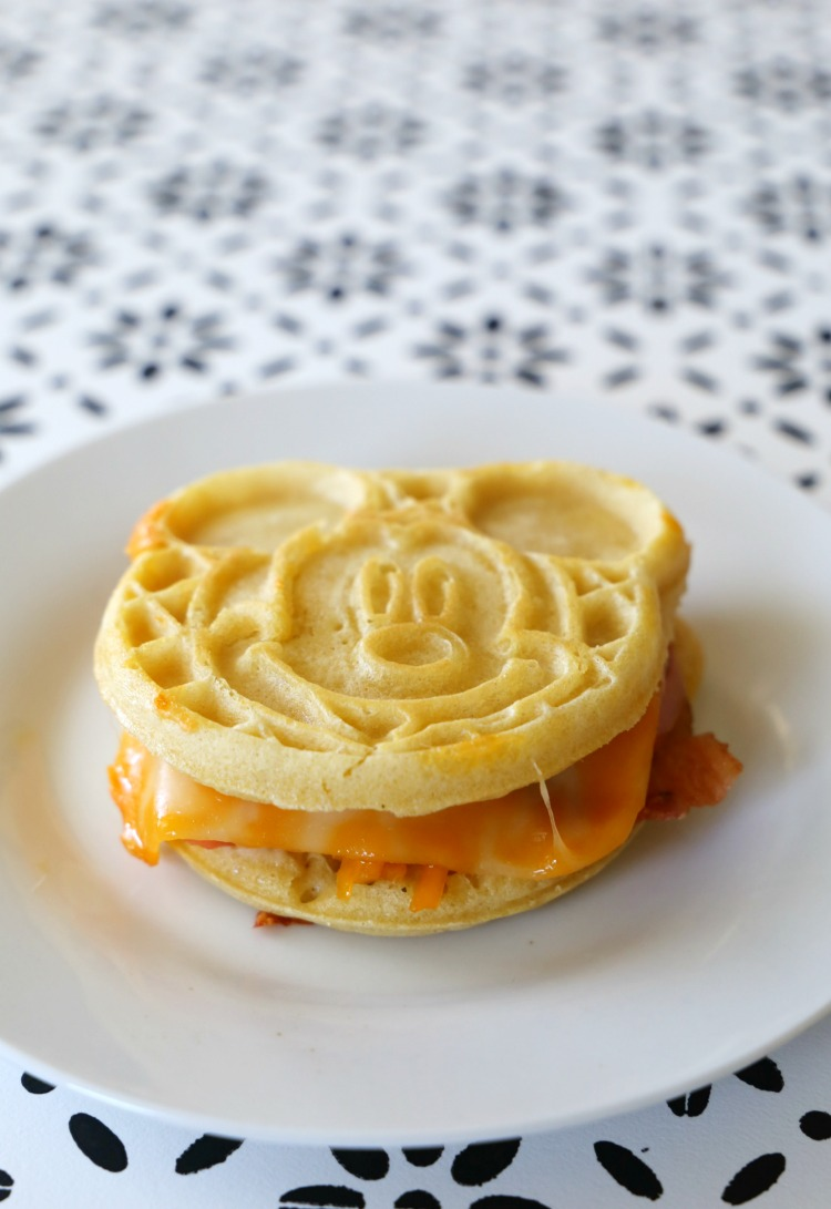 Mickey Mouse Eggo Waffle Grilled Cheese Sandwich Recipe from the Child at Heart blog