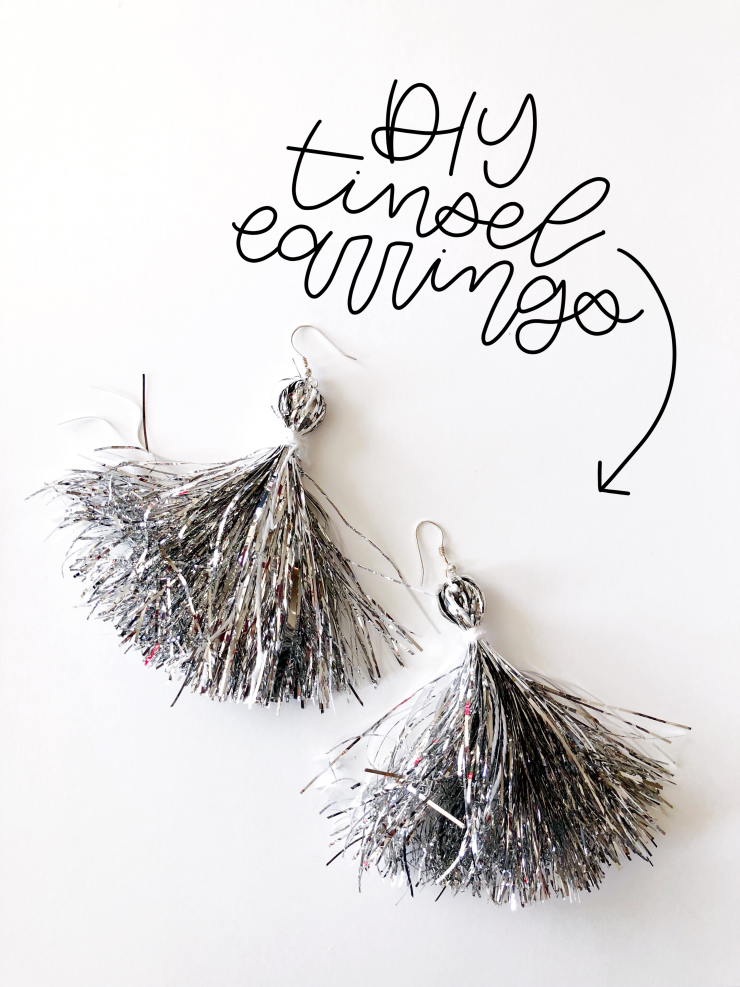 Ugly Christmas Sweater DIY Tinsel Tassel Earrings Tutorial from the Child at Heart blog