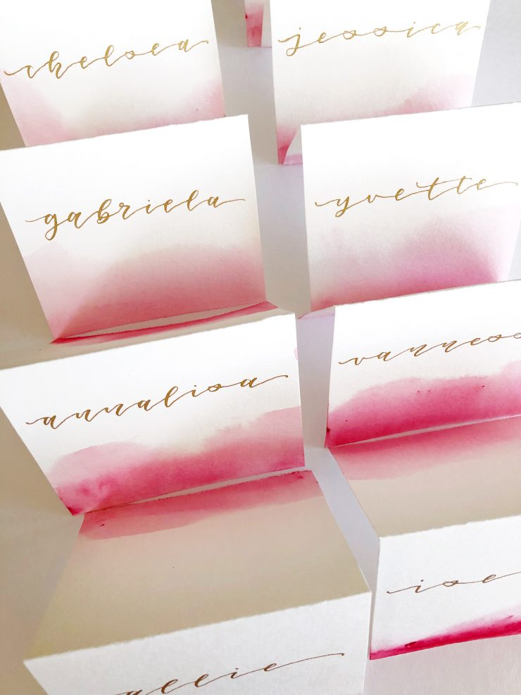 DIY Watercolor Place Cards Tutorial and Video from the Child at Heart blog