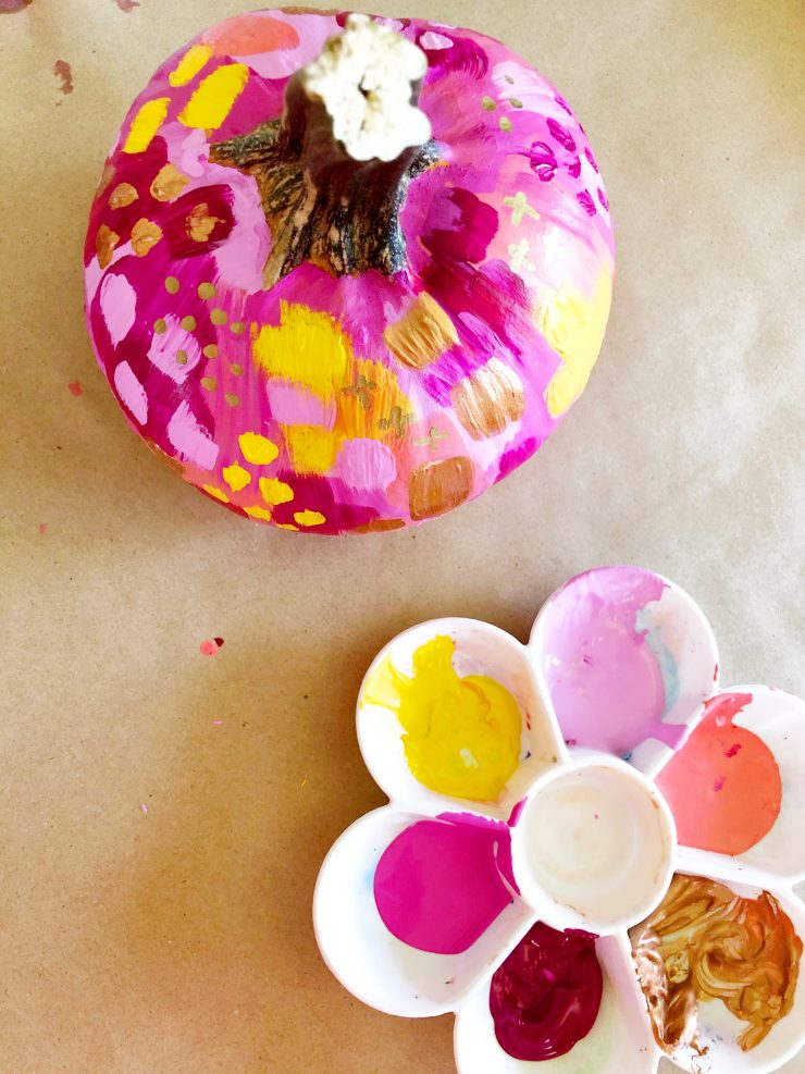 DIY Painted Abstract Pumpkins Tutorial and Video from the Child at Heart blog