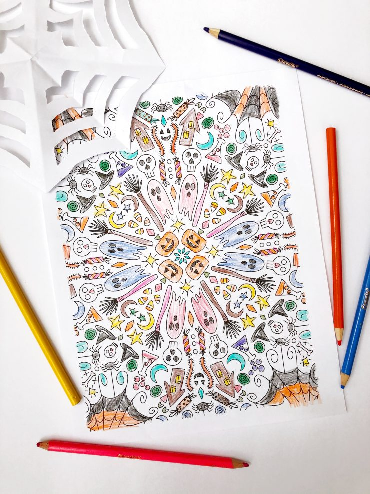 Halloween + Day of the Dead Sugar Skull Coloring Pages for Kids and Adults