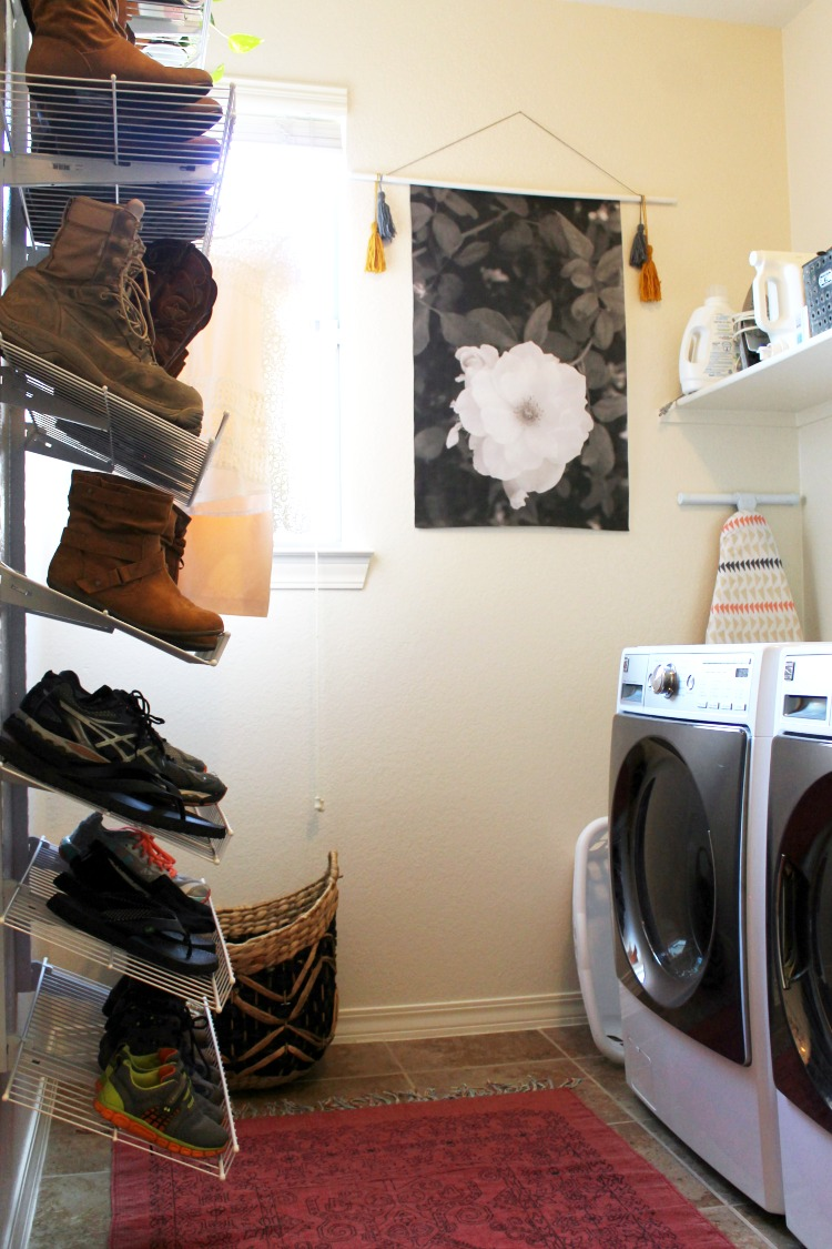 How to Organize Shoes in the Laundry Room or Mud Room + Laundry Room Decorating Ideas: Child at Heart Blog