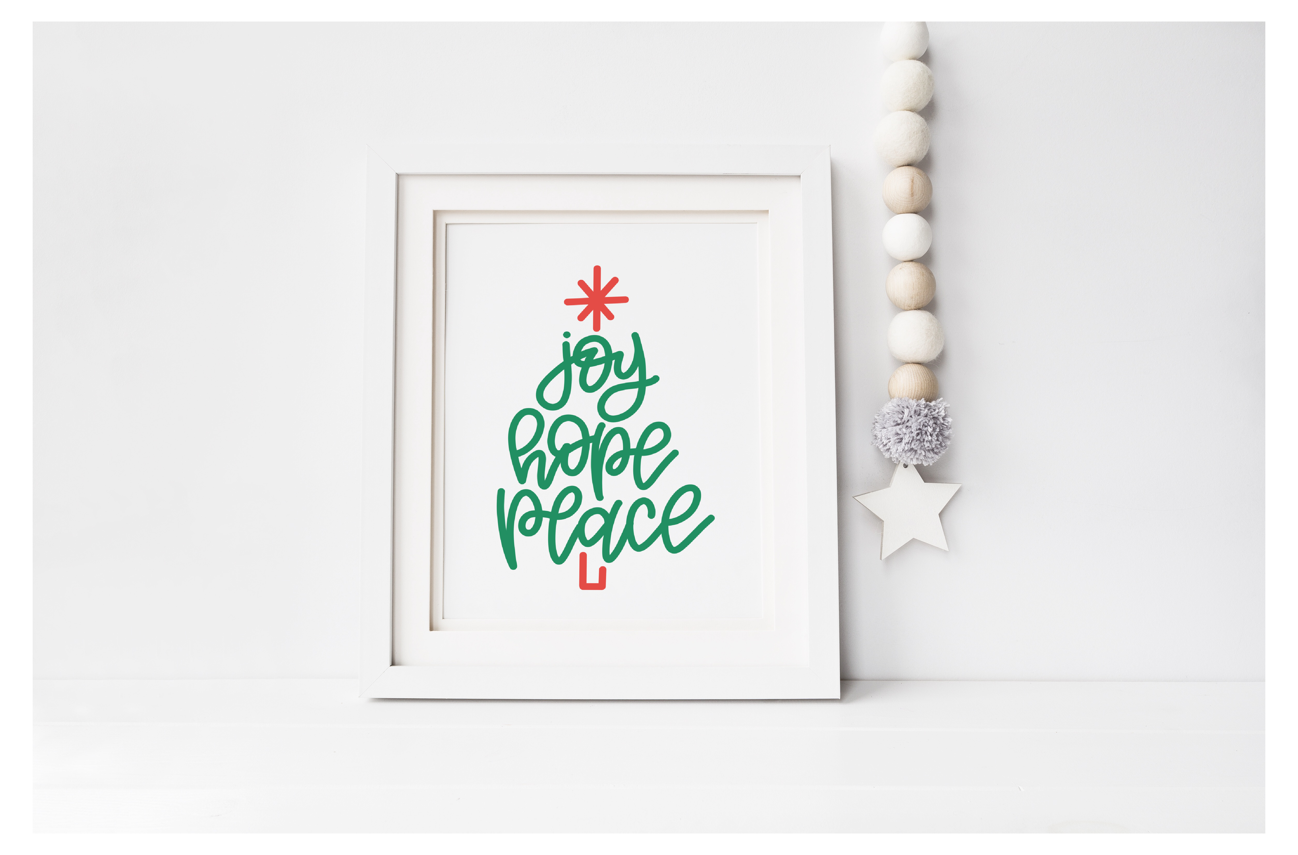 Joy Hope Peace Hand Lettered Christmas Tree FREE Printable: the Child at Heart blog