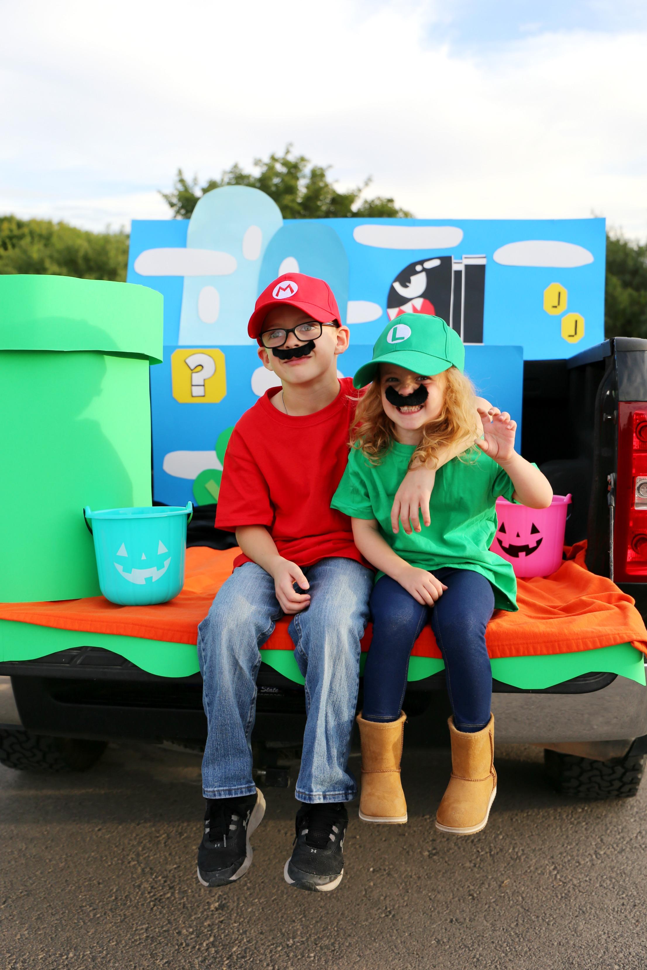 Super Mario Trunk or Treat Halloween Ideas plus Easy Mario, Luigi, and Princess Peach Costume Ideas